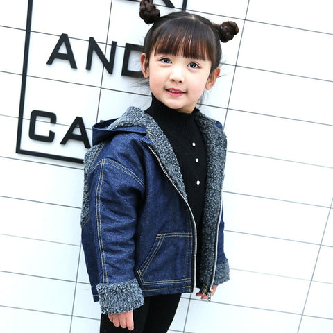 3-8 Years Old Kids Wear Medium Long Winter Coat Boys Lambs Wool Denim Jacket Children Boy Girl Plus Cashmere Jeans Jackets Coats