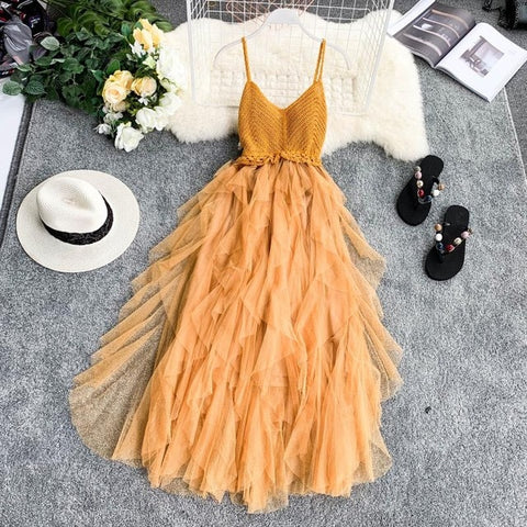 Irregular Mesh Knit Strap Dress Women 2019 Beach Style V collar Backless High Waist Dresses Cake Dress 6 Colors Vestidos Femme