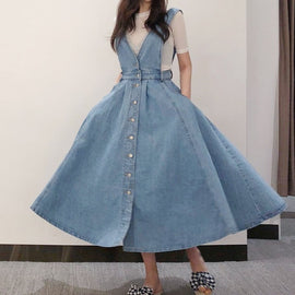 NORMOV Denim Dress Women Fashion Solid V Neck Sleeveless Backless With Button Pocket Mid Calf Cotton Strap Dress Office Lady