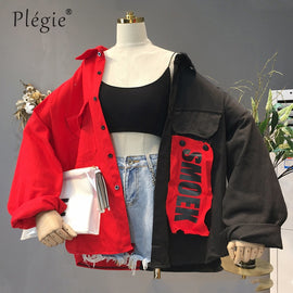 Plegie Harajuku Oversize Patchwork Jacket Women 2019 Autumn New Arrival Outwear Coat Hip Hop Streetwear Loose BF Style Jackets