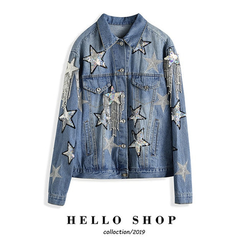 14 Styles Hand Studded Rivet Denim Jacket Women Loose Short Jackets Ladies High Quality Jeans Jacket Basic Coats Streetwear