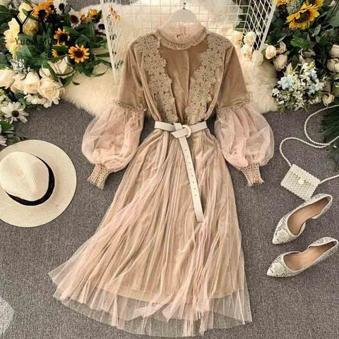 YuooMuoo Romantic Women Lace Pink Party Dress 2019 Autumn Winter Elegant Long Lantern Sleeve Gothic Dress Vintage A Line Midi Dress Sashes