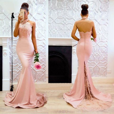 Women Long Maxi Dress Romantic Pink Vestido Lace Sleeveless Round Neck Camis Floor-Length Open Back Wrapped Fishtail Party Dress