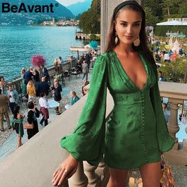 BeAvant Sexy v-neck short party dress Green ribbon elegant dress women Lantern sleeve single breasted a-line mini dress summer