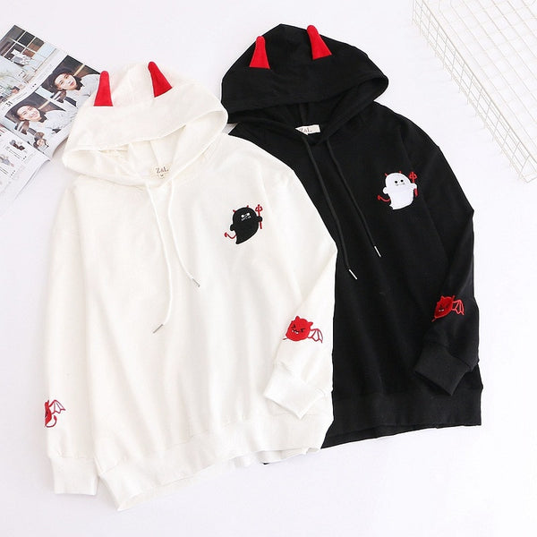 Harajuku Hoodies Girl Little Devil Horns Gothic Hooded Sweatshirts Women Autumn Loose Lolita Pullovers Tops Black White -85