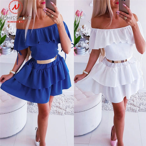 Sexy Women A-Line Dress for Streetwear Patchwork Design Ruffles Decor Off Shoulder Short Sleeve Solid Lady Summer Slim Dress
