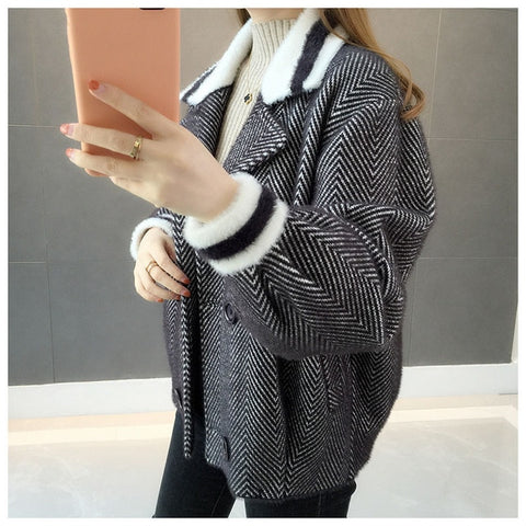 Vangull Winter Women Striped Jackets Double Breasted Lantern Sleeve Thick Cardigan Coat 2019 Autumn Loose Short Jacket Outerwear