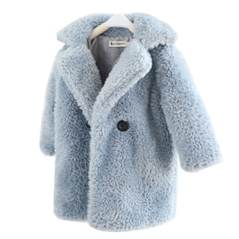 2-12 Years Children Faux Fur Coat Baby turndown collar Thicken Warm Jacket Girls Long Overcoat Winter Kids girls Casual Outwear