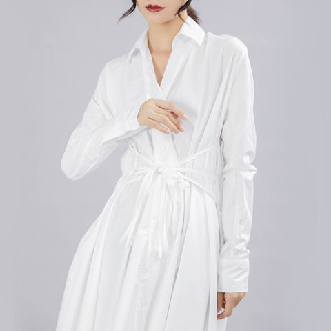 [EAM] 2020 New Spring Autumn Lapel Long Sleeve Button Bandage Stitch Pleated Irregular Shirt Dress Women Fashion Tide JY778