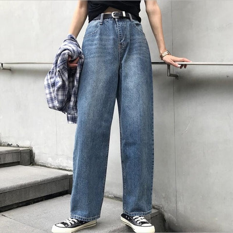 Boyfriend Jeans Women Autumn Casual Denim Pants Korean Streetwear Female Vintage Ankle-length Pants Straight Pants Plus Szie 5XL