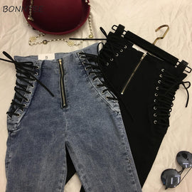 Jeans Women Lace-up Skinny All-match Zipper Simple Trendy Ankle-Length Trousers Womens Spring Autumn Slim Female High Quality