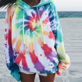 2019 Autumn Women Pritned Hooded Hoodies Sweatshirt Feme Long Sleeve Drawstring Multicolor Pullover Hoodies Sweatshirt Jumper
