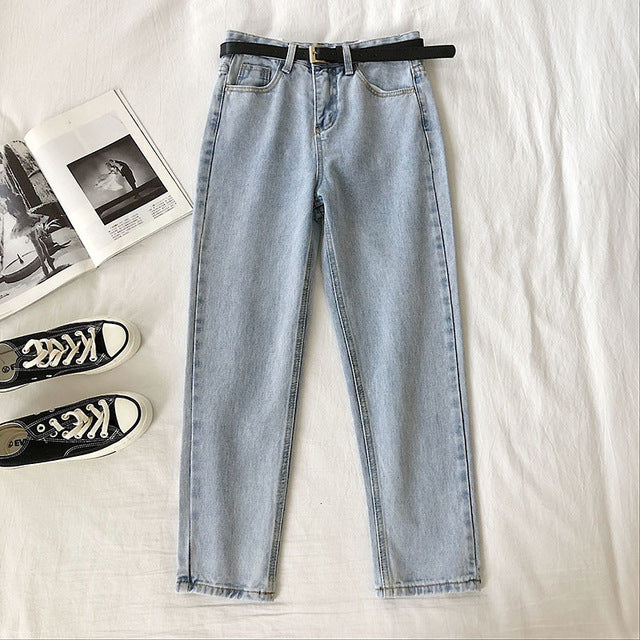Women Fashion Pants High Waist Harem Jeans Ankle-Length Stretch Jeans With Belt Streetwear
