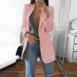 2019 Winter Autumn Women Casual Suit Coat  Outwear Office Ladies fashion plus size Slim  Coat Business Long Sleeve Jacket