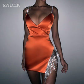 PFFLOOK Summer Sexy Tassel Diamond Party Dress Women Satin Dress Elegant Off Shoulder Backless Bodycon Dresses Mini Vestidos