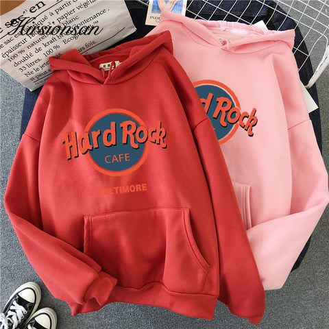Hirsionsan Hard Rock Letter Printed Sweatshirt Women Winter Warm Streetwear Oversized Pullovers Punk Graphic Thicken Hoodies