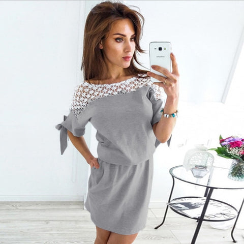 2020 Women Hollow Out Lace Beach Dress Fashion Elegant Vintage Casual Tunic Dresses Summer Mini Sundress Robe Femme Vestidos