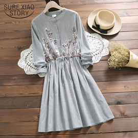 2019 New Casual Vintage Lady Dress Long Sleeve striped Floral Mid-length Women Dress Summer O-Neck Sweet Women Clothes 4864 50