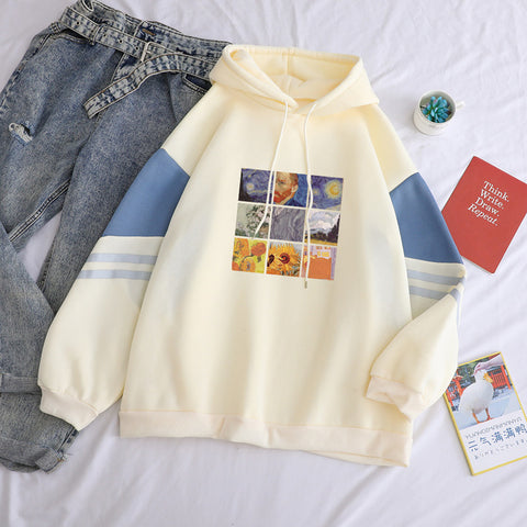 Autumn Winter Fleece Van Gogh Oil Painting Pullover Thick Loose Women Hoodies Hot Harajuku Contrast Color Sweatshirt Female