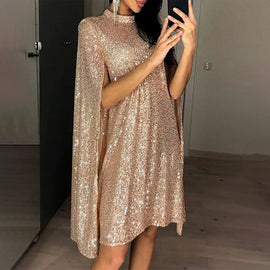 Women's Sequined Party Midi Dress Cloak Sleeves Spring Dresses Female Summer Loose Elegant Fashion Ladies Clothes vestidos