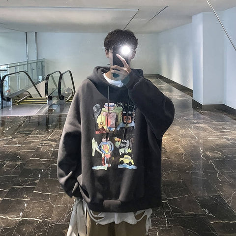 Men Harajuku Hoodies Sweatshirts Oversized 2019 Men Women Streetwear Cool Print Hoodie Male Hip hop Winter Japan Hoodies Male