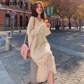 BGTEEVER Casual V-neck Loose Women Sweater Dress Elegant Autumn Winter Dress Ruffles Patchwork Female Long Knitted Vestidos 2019
