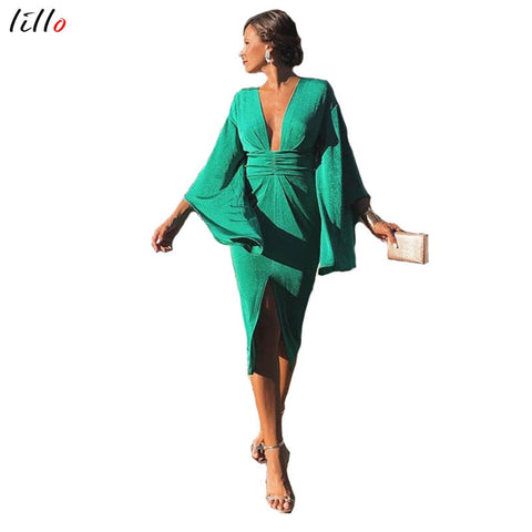 Spot! Fashion sexy green dress Hot new style Deep V dress Slim party dress temperament retro style bodycon dress