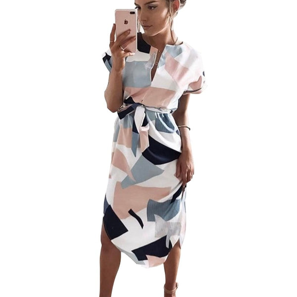 2020 Women Midi Party Summer Dresses Geometric Print Boho Beach Dress Loose Batwing Sleeve Dress Vestidos Plus Size