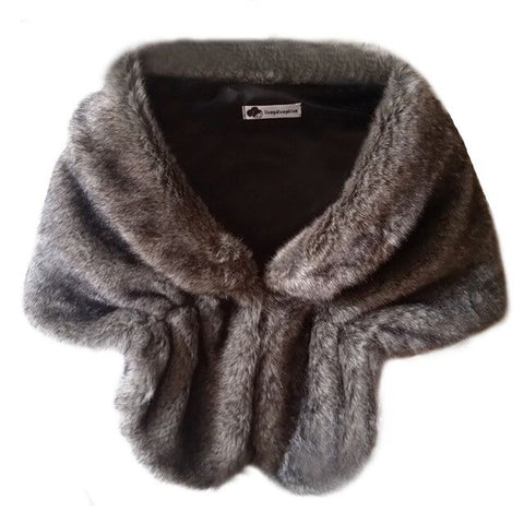 Women Faux Fur Shawl Thick Shawl Cloak Shawl Artificial Wool Autumn Winter Fur