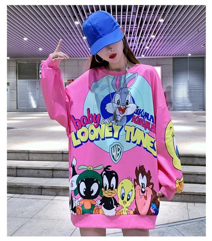 Oversize Fashion Long Students Sweet Style Sweatshirt Cartoon Print Designers Loose Women Shirts Sexy Drop-shoulder Pullovers