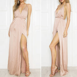 Danjeaner Boho Floral Deep V neck Backless Sexy Dress Split Cross Lace Up Chiffon Summer Beach Long Dress Sleeveless Maxi Dress