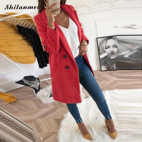 2018 New Women Long Sleeve Turn-Down Collar Outwear Jacket Wool Blend Coat Casual Autumn Winter Elegant Overcoat Loose Plus Size