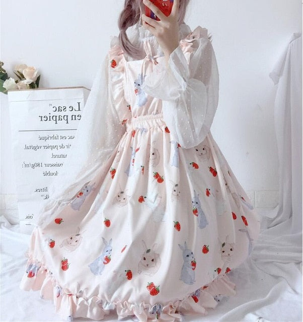 Women's Dresses Chic Lady Kawaii Ulzzang Strawberry Rabbit Cute Strap Dress Female Ins Vintage Harajuku Dress For Women Casual