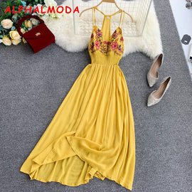 ALPHALMODA Bohemia Holiday Embroidery Flowers Sexy V-collar Beach Dress High Back Slim Waist Ladies Boho Summer Vestidos