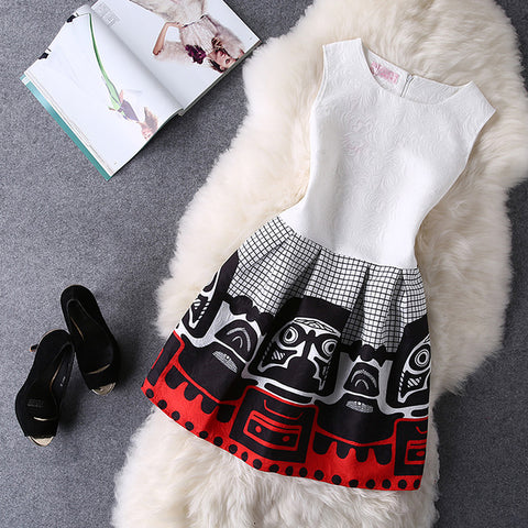 2019 Women Summer Bodycon Vest Dress Vintage Printed Sexy Party Vestido De Festa Female Clothing A Line Black Casual Dresses