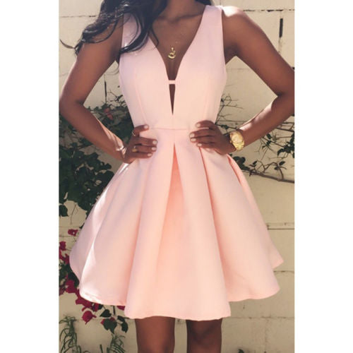 2017 Pink Mini Dress Women Casual Tank Sleeveless Ball Gown Style Sexy Girl Homecoming Evening Shrink Waist Party Short Dresses