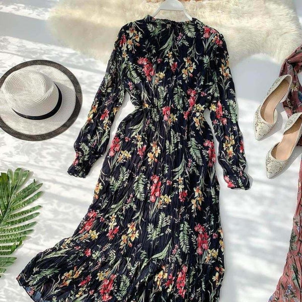 BGTEEVER Elegant V-neck Floral Printed Women Dress Flare Sleeve A-line Female Chiffon Dress 2019 Vintage Women Midi Vestidos