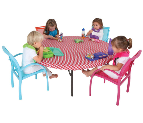Art play is always fun and usually very messy. Make clean up time easier and quicker! This fitted or flat round vinyl tablecloth is great for messy arts & crafts play, baking, playdough or even at mealtimes.  Each tablecloth is perfect for protecting your tabletop at home or in Early Childhood Centres. Simply wipe down easily with a cloth.