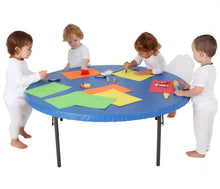 Load image into Gallery viewer, Art play is always fun and usually very messy. Make clean up time easier and quicker! This fitted round vinyl tablecloth is great for messy arts & crafts play, baking, playdough or even at mealtimes.  Each elasticated, fitted tablecloth is perfect for protecting your tabletop at home or in Early Childhood Centres. Simply wipe down easily with a cloth.
