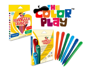 The Colour Play triangular crayons are a fun way to promote a proper writing grip for little hands. The 12 fun coloured crayons are easy to hold and will help nurture your child's creativity whilst developing their fine motor and sensory skills. Say hello to long-lasting crayons and wave goodbye to sharpening and crayons that roll off the table!