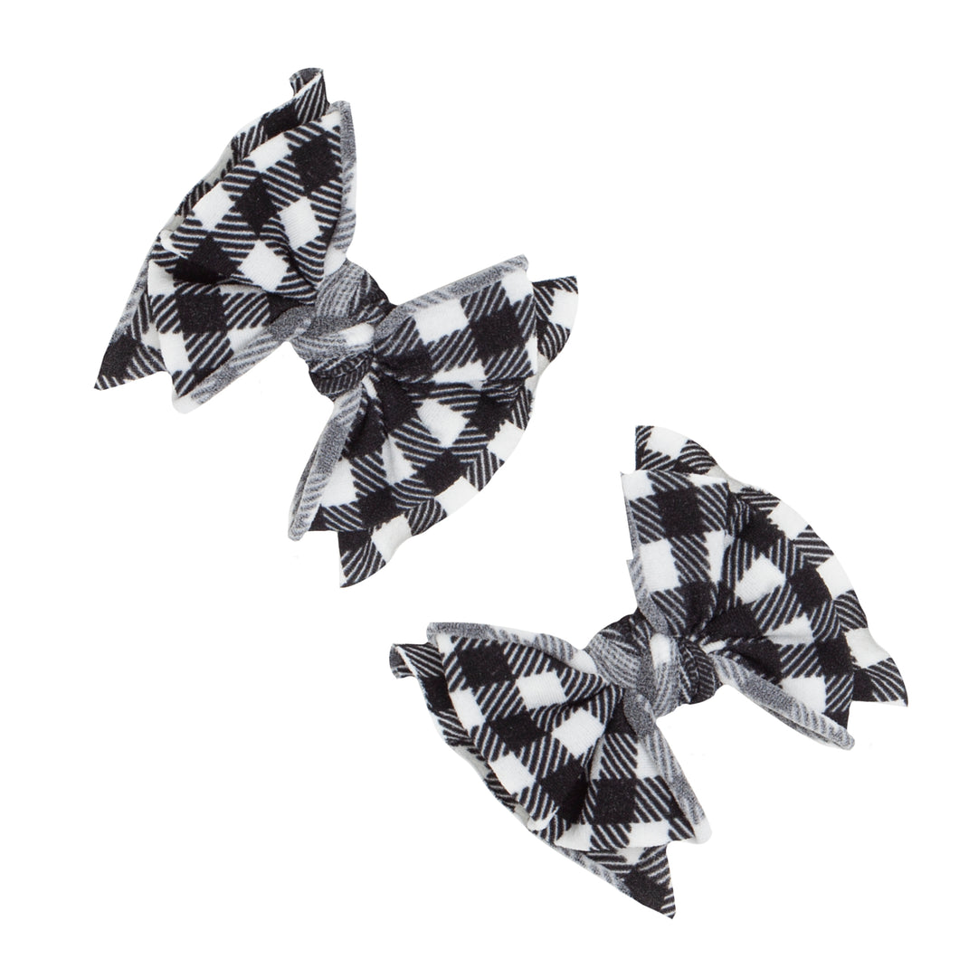 Baby Bling 2PK Printed Baby FAB Clips - Black Gingham