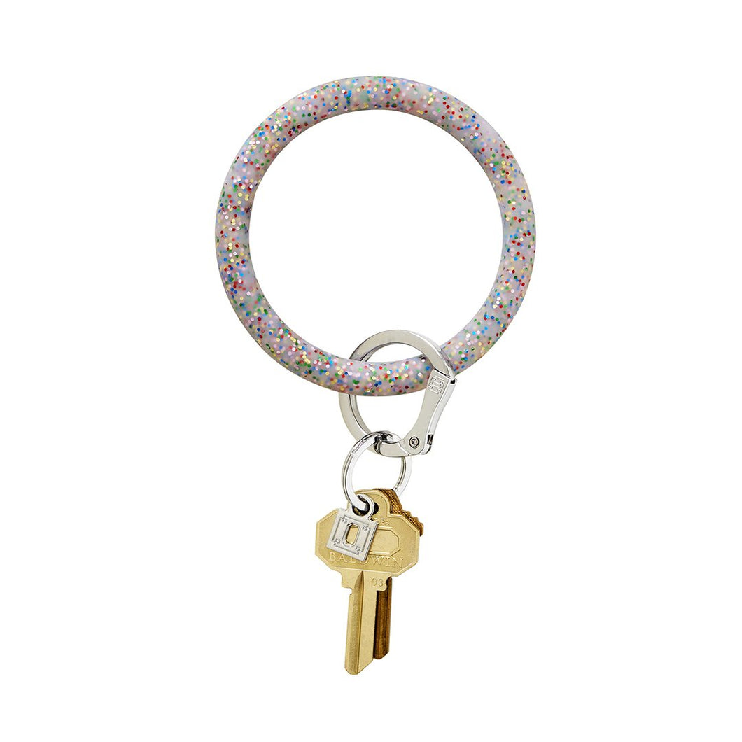 Rainbow Confetti Silicone, Big O Key Ring