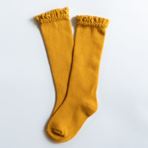 Marigold Yellow Lace Top Knee High Socks