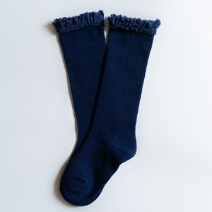 Navy Blue Lace Top Knee High Socks
