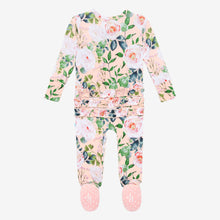 Load image into Gallery viewer, Harper - Ruffled Double Zippered One Piece Footie