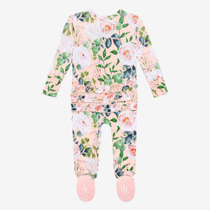 Harper - Ruffled Double Zippered One Piece Footie