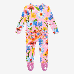Kaileigh - Ruffled Double Zippered One Piece Footie
