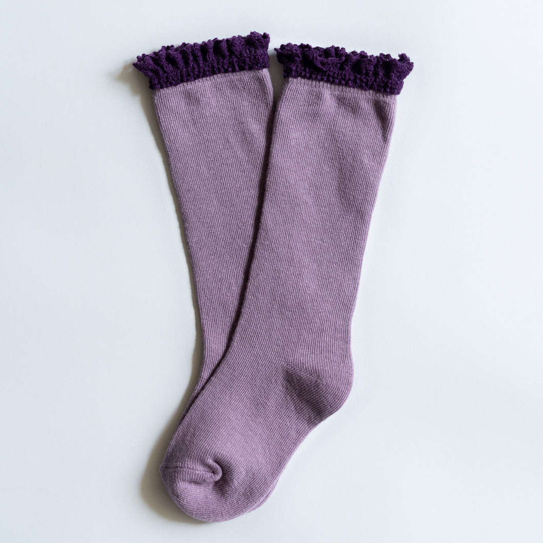 Purple + Plum Lace Top Knee High Socks