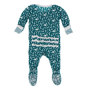 Kickee Pants Print Muffin Ruffle Footie with Zipper-Jade Running Buffalo Clover