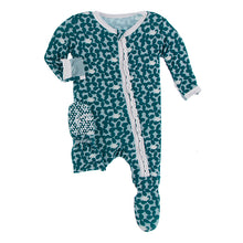 Load image into Gallery viewer, Kickee Pants Print Muffin Ruffle Footie with Zipper-Jade Running Buffalo Clover